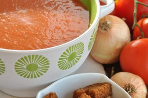 bowl of gazpacho with tomatoes