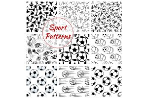 Sport balls, sports seamless patterns set
