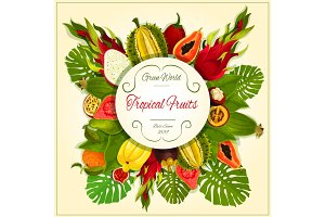 Tropical and exotic fruits vector poster