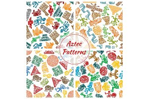 Aztec vector seamless patterns set