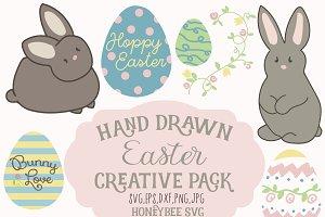Chubby Bunny Hand Drawn cut files