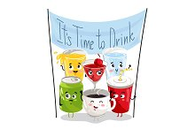 Funny drink cartoon character set