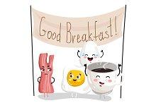 Funny breakfast cartoon character set