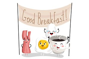 Funny breakfast cartoon character set