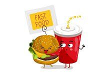 Funny take away glass and burger cartoon character