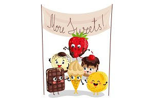 Funny sweet tasty dessert character set