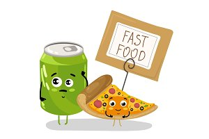 Funny pizza slice and soda can cartoon character