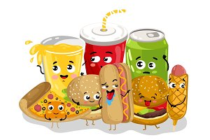 Funny fast food menu cartoon character