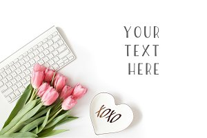 Be My Valentine Mockup - Pink Tulips
