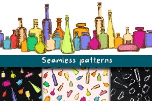 Seamless patterns with bottles