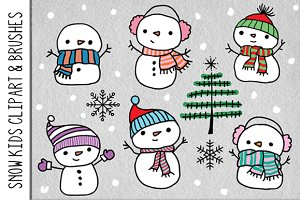 Snow Kids Clipart & Brushes