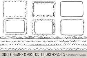 Hand Drawn Frames & Borders Clipart