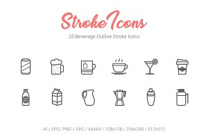 25 Beverage Outline Stroke Icons