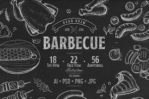 Barbecue hand drawn illustration set