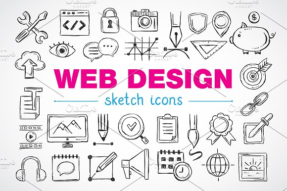 Web design sketch icons-Graphicriver中文最全的素材分享平台