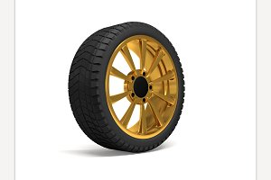 Car gold wheel 3d