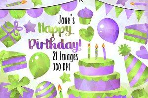 Purple and Green Birthday Clipart