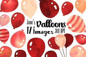Watercolor Red Balloons Clipart Set