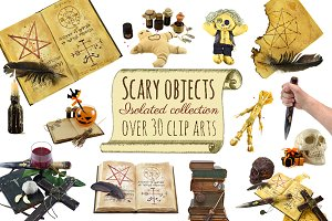 Scary objects clip arts set