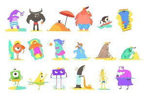 Monsters On The Beach Illustrations Set
