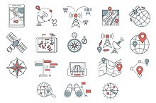 Different navigation icons set with rounded corners. Design elements
