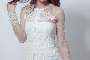 Bride posing with flower crown