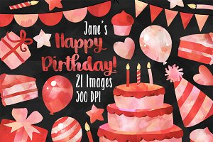 Watercolor Red Birthday Clipart