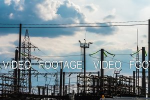 Electricity power station at a sunset. Power plant timelapse 2