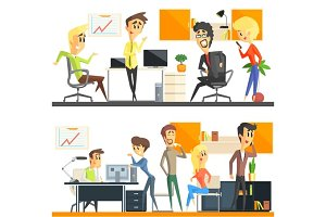 Office Team Two Illustrations Set