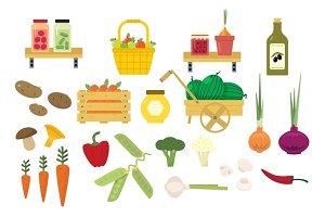 Organic Food Icons Set