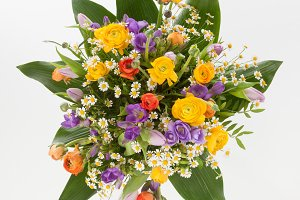 Bouquet with ranunculus and freesia