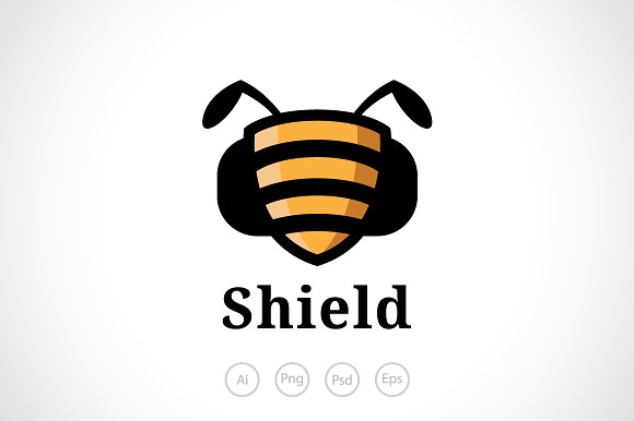 Bee shield logo template logo templates creative market maxwellsz