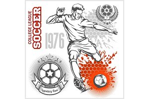 Soccer player kicking ball and football emblems.