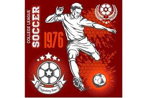 Soccer player kicking ball and football emblems.