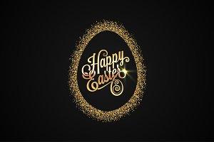 Easter Egg. Golden Background.