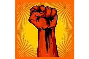 Hand Up Proletarian Revolution - Fist of revolution. Human hand up.