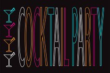 Cocktail party background neon