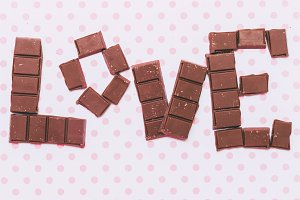 'Love' by chocolate