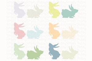 Pastel color Bunny Silhouette