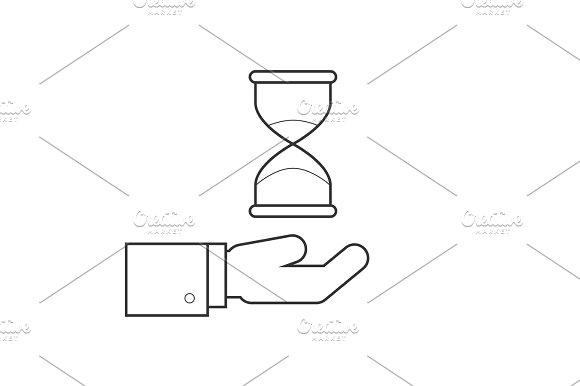 Hourglass On Hand Line Icon