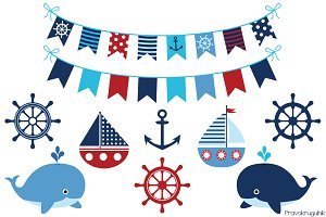 Boy nautical clipart set