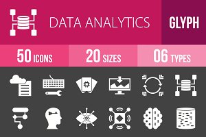 50 Analytics Glyph Inverted Icons