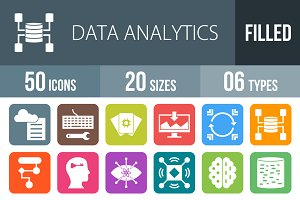 50 Analytics Flat Round Corner Icons