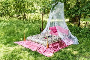 Bed in garden for lovers