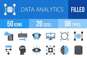 50 Data Analytics Blue & Black Icons