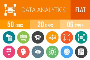 50 Data Analytics Flat Round Icons