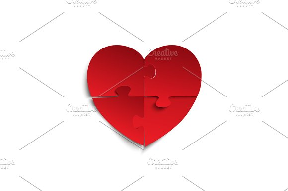 Jigsaw Puzzle Pieces In Form Of Red Heart