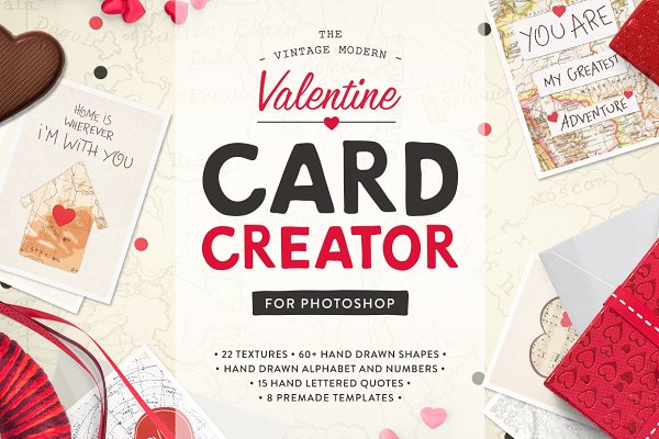 Card Templates: Greta Ivy - Valentine Card Design Kit (PS)