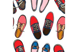 Seamless pattern with Sport shoes