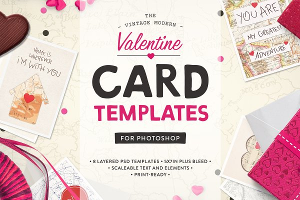 Card Templates: Greta Ivy - Valentine Card Templates (PS)